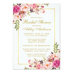 Gold Pink Floral Bridal Shower Brunch Invitation G - spring wedding diy marriage customize personalize couple idea individuel Spring Wedding Invitations, Gold Wedding Invitations, Bridal Shower Invitations, Party Invitations, Invitation Ideas, Wedding Stationary, Invites, Elegant Bridal Shower, Gold Bridal Showers