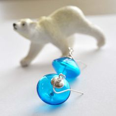 Aqua Blue Glass Earrings by bstrung on Etsy, $25.00