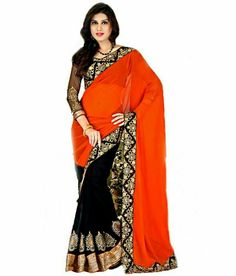 629c138392b Anwesha Saree Orange And Black Faux Georgette Saree