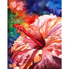 Hibiscus art prints, 8 x 10 giclee print, hawaiian kunst roze... (97 ILS) ❤ liked on Polyvore featuring home, home decor, wall art, art, integritytt, pink flower wall art, blossom painting, pink wall art, flower home decor and pink flamingo painting