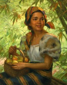 A Basket of Mangoes. 1949. Oil on canvas. Fernando.Amorsolo was famous for his portraits of beautiful Filipina girls.