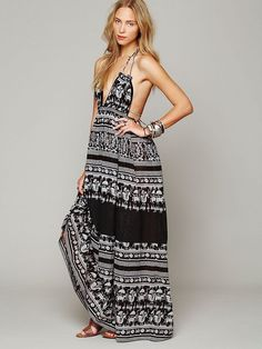 Free People Printed Triangle Top Maxi Dress XS Black White Boho Festival New #FreePeople #Maxi #Casual