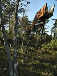 Built by Saunders Architecture in Stokke, Norway with date Images by Bent René Synnevåg. This sculptural installation was designed for the Sti For Øye sculpture park in Stokke, set amongst the Vestfold oak . Stairs Architecture, Amazing Architecture, Landscape Architecture, Oak Forest, Forest Park, Urban Landscape, Landscape Design, Ideas Cabaña, Norway Forest