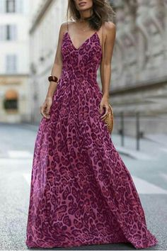 3dafcc5642 Sexy Leopard Print Sleeveless Maxi Dress