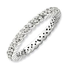 Sterling Silver Stackable Expressions Polished Diamond Ring  Style: QSK666.  Sale Price $180.  Available in sizes 5-6-7-8-9-10.