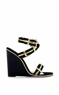 Nikaia Wedge Heel Ankle-Wrap Sandal by Paul Andrew at Moda Operandi Black Suede Wedges, Gold Wedges, High Heel Pumps, Wedge Heels, Shoes Heels, Buy Shoes, Me Too Shoes, Ruby Red Slippers, Ankle Wrap Sandals