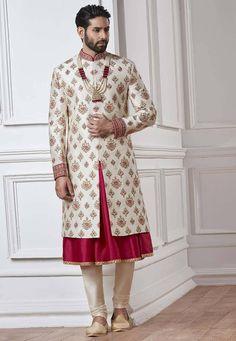 Custom Made Indian Wedding Sherwani Indian Groom Dress, Wedding Dresses Men Indian, Wedding Dress Men, Wedding Suits, Wedding Couples, Bridal Dresses, Sherwani Groom, Mens Sherwani, Wedding Sherwani