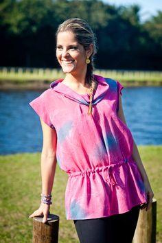 Blusa de Crepe  Rosa e azul com gora Drapeada