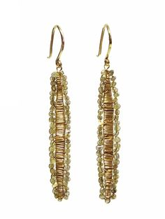 """Diamond earring with 14k gold. Has a 1.75"""" drop after hook. At alhambrastyle.com."""