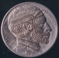 John Dorusa - Bearded Man Wearing Cap (Obverse) 2 Sided Carving Hobo Nickel, Bearded Men, Buffalo, Classic Style, Carving, Cap, Men Beard, Baseball Hat, Wood Carvings