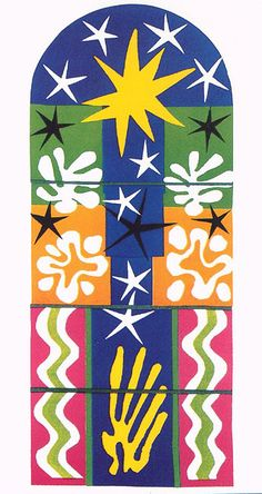 Matisse Cutouts - These look like a stained glass window.  I painted this on a pillar in the basement with five blue dancing cutouts on the bottom.