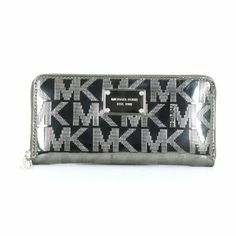 1014ce53828e Michael Kors Mirror Metallic Signature Zip Around Continental Wallet -  Engraved Name Plates, Nail Jewels