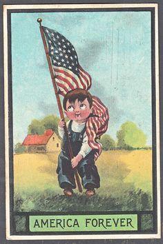AB483 Set 7 Vintage Postcards Patriotic Children American Flags Clapsaddle | eBay