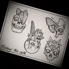 """Johno no Instagram: """"Tomorrow - Friday the 13th- I'll be tattooing Skulls all day! These guys are $130 and about Palm-sized. Arms and Legs only- no alterations. I have openings at 1 pm 2pm 4pm & 5pm. Thanks for looking! ********EMAIL Info@gristletattoo.com to book in for one of the open times. Please include which piece you would like to get ✝✝✝✝ #tattoo #happyfridaythe13th #bushwick"""""""