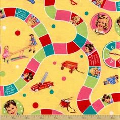 Dick and Jane Cotton Fabric - Game Board Yellow - Vintage Fabric