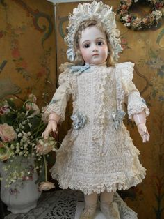 ~~~ Superb French White Waffle-Weave Princess Dress with Bonnet ~~~ from whendreamscometrue on Ruby Lane