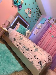 Teen Bedroom Designs, Room Ideas Bedroom, Little Girl Bedrooms, Girls Bedroom, Girl Rooms, Jugendschlafzimmer Designs, Girls Room Paint, Baby Girl Room Decor, Toddler Rooms