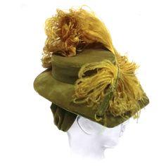 Spectacular 40s Velvet and Ostrich Tilt Hat