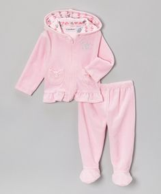 Take a look at this Calvin Klein Underwear Light Pink Velour Zip-Up Hoodie & Footie Pants on zulily today!