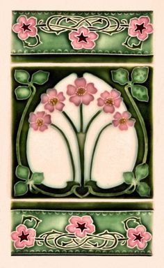 Art Nouveau style ceramic tiles on a shopfront at Cuba St, Wellington, New Zealand. Classic pink and green floral design. Motifs Art Nouveau, Azulejos Art Nouveau, Design Art Nouveau, Art Nouveau Tiles, Mosaic Glass, Stained Glass, Glass Art, Jugendstil Design, Arts And Crafts Movement