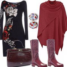 Per la donna che vuole indossare il tubino dallo stile unico, anche nelle giornate di pioggia, utilizzando dei boots di gomma, sempre di gran moda, una mantella per difendersi dall'umidità e degli orecchini che racchiudono i colori dell'outfit.