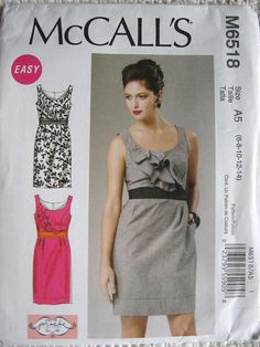 1d8bcb980c McCalls Misses Lined Dress Sewing Pattern M6518 UC by Vntgfindz Mccalls  Patterns