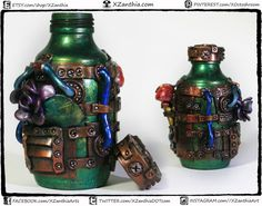 6 Steampunk rost and mushroom Bottle with cap FULL by XZanthia