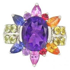 Rainbow Sapphire & Amethyst Color Explosion Ring 14K White Gold (5.63ct tw $886.00  #jewelry #sapphires