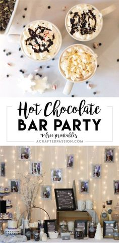 This hot chocolate bar party is the perfect winter party idea! Complete with FREE chalkboard labels, recipe cards, and lots of DIY hot chocolate bar ideas Winter Birthday Parties, Birthday Party Snacks, Winter Parties, Adult Birthday Party, Birthday Dinners, Birthday Ideas, Minion Birthday, 19th Birthday, Birthday Recipes