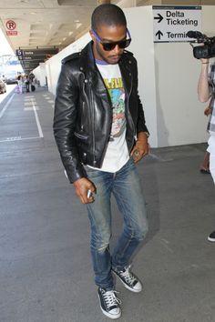 Kid Cudi Loves His Saint Laurent Slim-Fit Leather Biker Jacket - http://www.becauseiamfabulous.com/2013/06/kid-cudi-loves-his-saint-laurent-slim-fit-leather-biker-jacket/