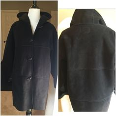 "Amazing suede w/fleece outside seamed hooded Jkt Amazing Ralph Lauren coat!! Ugg like with Exposed seams with fleece inside. Toggle closure with slit pockets. This is heavy weight coat in excellent condition. 35"" from neck to hem. 100% polyester, inside 66% polyester 34% acrylic. Machine wash Ralph Lauren Jackets & Coats Utility Jackets"