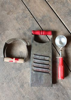 Vintage Red Handled Kitchen Tools Utensils by forgottenPLUM, $15.00