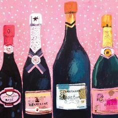 Cute illustration of champagne, although I'm not into drinking lol Art And Illustration, Illustration Mignonne, Cocktail Illustration, In Vino Veritas, Gold Art, Artsy Fartsy, Print Patterns, Art Photography, Saatchi