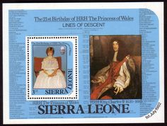 1982 Sierra Leone Diana 21st Birthday Miniature Sheet Fine Mint SG MS 710 Scott 534 Other African Stamps HERE