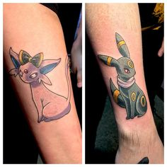 Couple tattoo idea pokemon More - Tattoo Ideas Anime Tattoos, Disney Tattoos, Body Art Tattoos, Tribal Tattoos, Tattoo Art, Umbreon And Espeon, Eevee Evolutions, Zelda Tattoo, Kawaii Tattoo