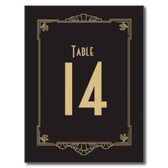 Art Deco Style 1920's Wedding Table Number by Origami Prints