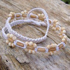 Hemp and bone bead macrame choker