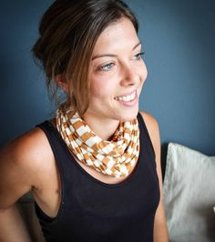 This mustard & white t-shirt necklace /scarf is made from cotton knit waste fabric.The T-shirt necklace / scarf can be worn 5 different ways (AT LEAST)! Online Gifts, Winter Wardrobe, Scarfs, Womens Scarves, Mustard, Fashion Accessories, Necklaces, Women's Fashion, Cotton