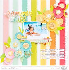 Maya Road Rainbow SUMMER CHILL Scrapbook Layout by Nathalie