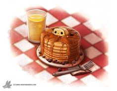 ArtStation - (sample of past dailies) Daily Painting 828# I really want to make some pancakes, Piper Thibodeau