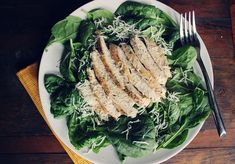 Easy Lemon Herb Chicken (over spinach salad) - 8 ingredients, 25 minutes, dinner!