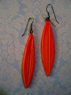 Tangerine Orange Retro Mod Drop Dangle Earrings Pierced Modernist Acrylic  #Unbranded #DropDangle