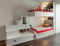 White Corner Bunk Beds with Stairs and Storage in Contemporary Kids Bedroom Design Ideas. Coolest bunk beds I've ever seen! Contemporary Bunk Beds, Modern Bunk Beds, Cool Bunk Beds, Bunk Beds With Stairs, Kids Bunk Beds, Kids High Beds, Lofted Beds, Post Contemporary, Bed Stairs