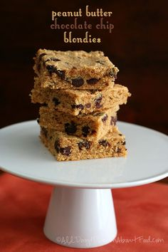 Peanut Butter Chocolate Chip Blondies - Low Carb and Gluten-Free | All Day I Dream About Food