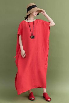 Summer Linen Red Plus Size Casual Loose Fitting Long Maxi Dresses For Women Plus Size Lace Dress, Plus Size Long Dresses, Winter Outfits Women, Summer Dresses For Women, Maxi Outfits, Casual Outfits, Linen Dresses, Maxi Dresses, Long Sweater Dress