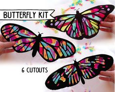 Niños arte de mariposa y libélula vidrieras Suncatcher Kit con