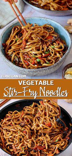 Vegan Noodles Recipes, Asian Noodle Recipes, Vegan Dinners, Vegetable Recipes, Asian Recipes, Vegetarian Recipes, Healthy Recipes, Simple Vegan Meals, Fried Noodles Recipe