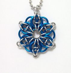 Necklace Celtic star chainmaille pendant by Eternalelfcreations