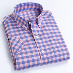 Men's Casual Short-Sleeve Checkered Shirts Standard-fit Summer Thin So – Ifomt Social Dresses, Plus Size Casual, Plaid Fabric, Plaid Dress, Workout Shirts, Shirt Sleeves, Casual Shirts, Shirt Style, Men Casual