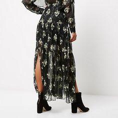 Black floral print tiered maxi skirt